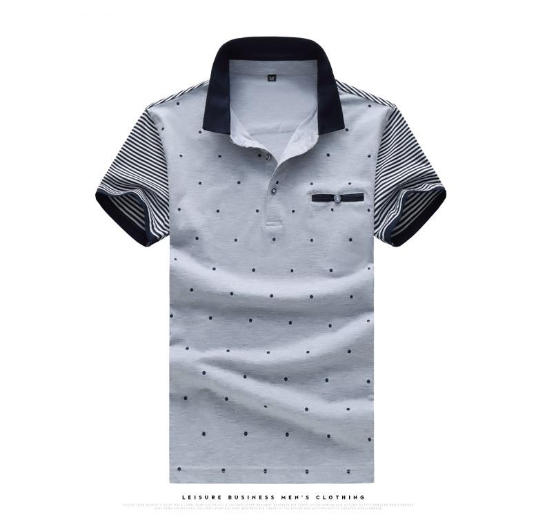 5045fbf4c5 Voreloce marca polo camisa dot listrado mosaico manga polo de verão dos  homens novos de manga curta camisa tamanho grande cinza branca azul