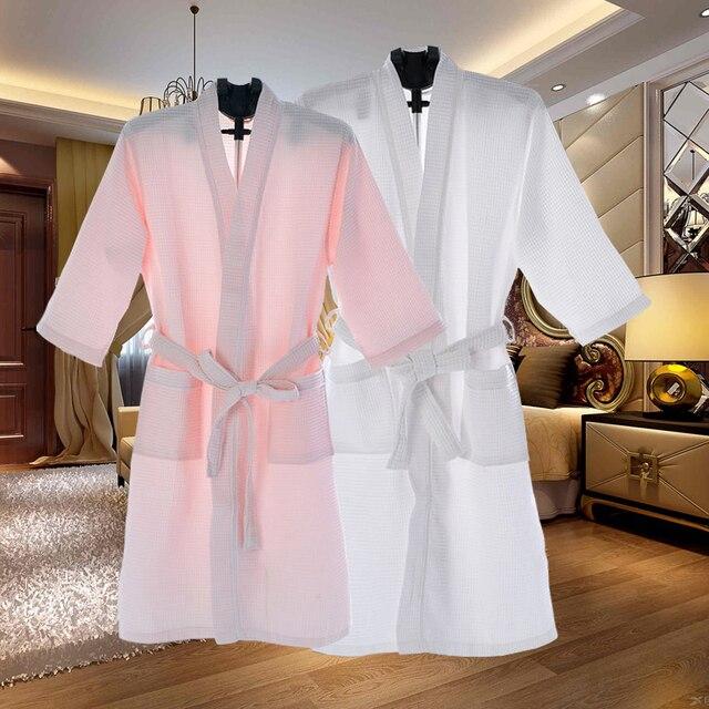 Unisex Thin Summer Kimono Bath Robe Men Women Sexy Bathrobe Waffle Robes Soft Peignoir Homme Badjas Sleep Lounge Sleepwear