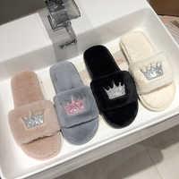 Slippers Women 2019 Womens Fur Slippers Winter Shoes Big Size Home Slipper Plush Pantufa Women Indoor Warm Fluffy Cotton Shoes