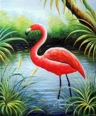 Flamingo Pink Bird Florida Everglades Bayou Swamp 20x24 Frameless