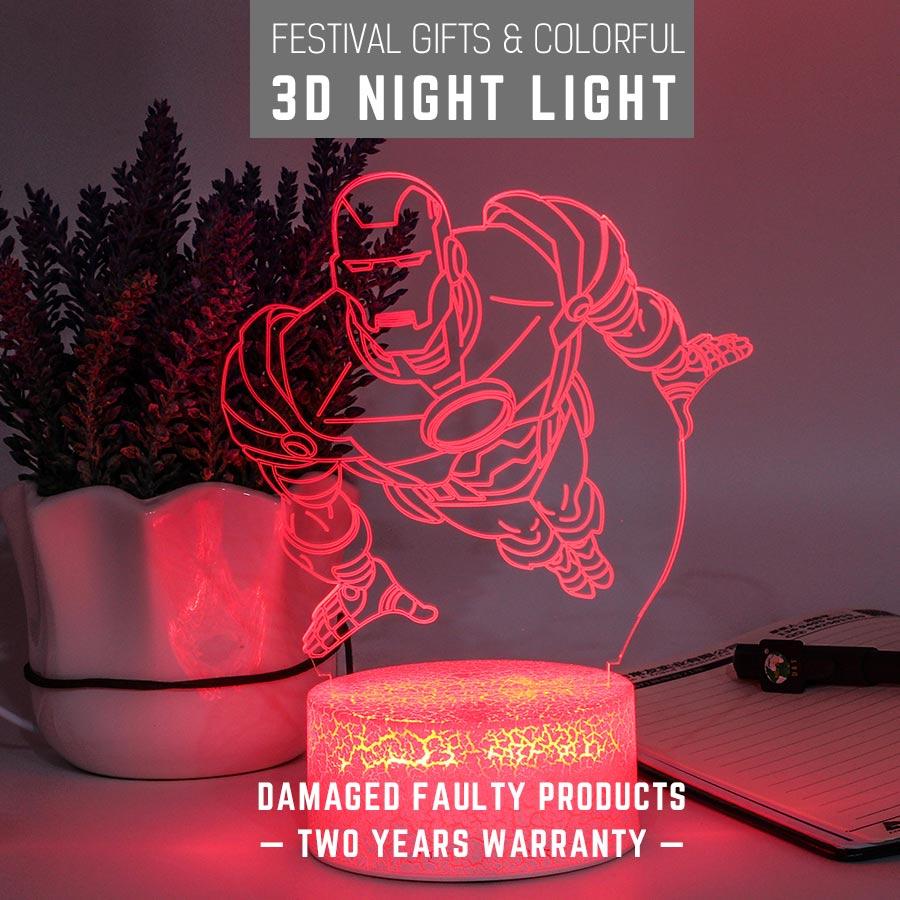 Novedades 2019 Marvel&DC 3D Touch Card Cartoon Lamp Usb/AA Battery Avenger 4 Fans Gift LED Night Light Super Hero Keepsake