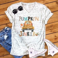 New Women V-neck Loose T-shirts Pumpkin Spice Junkie Print Tee Top Womens Fashion Female Tshirt Tops Letter Shirt