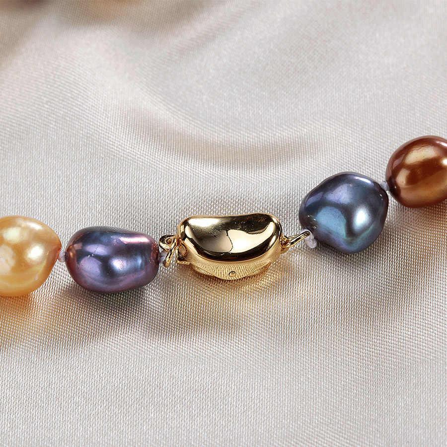ヴィンテージマルチカラーリアルナチュラルバロック真珠のネックレスファッションゴールドカラービッグ 9-10 ミリメートル淡水真珠ジュエリー 45/50