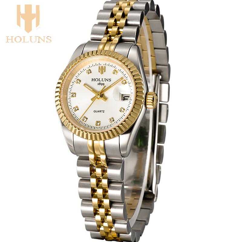 Prix pour Quartz dames wris montre De Luxe femelle or rose en acier inoxydable femmes montre étanche montres pour femmes horloge avec montre outils