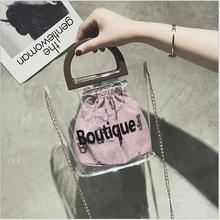 Fashion Clear Transparent Bucket PU Bag Barrel Shaped Small Mini Wood Handle Semi-Circle Handbags Women Fresh Summer Beach Bags