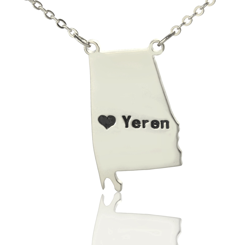 DIY State Charm Map Necklace Custom Sterling Silver Alabama State Necklaces Engraved Black Name State Necklaces With Heart
