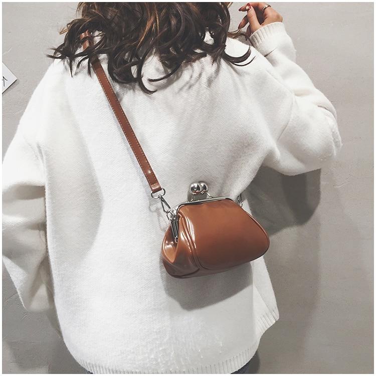bags women leather shoulder crossbody bag women's handbag kiss lock bag (1)