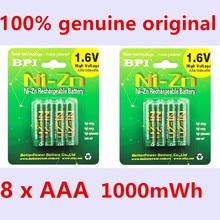 8pcs/lot Original New BPI AAA 1000mWh 1.6V 1.5V NI-Zn NI Zn NIZN aaa Low self-discharge rechargeable battery 1.5V