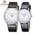 2017 julius mulheres marca de topo relógios homens de negócios de couro amantes casais simples quartz relógio de pulso relogio masculino montre femme