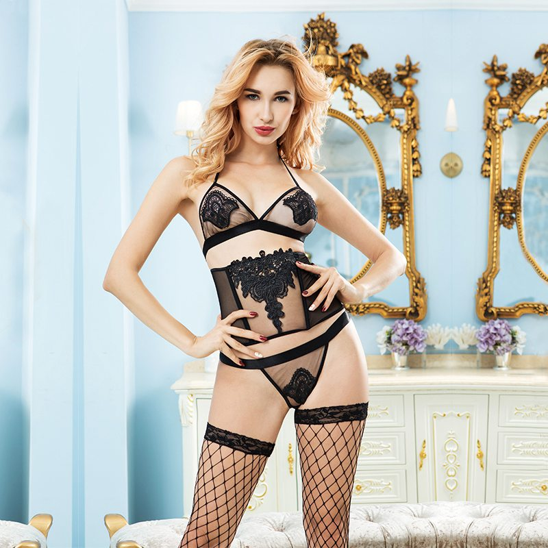New Sexy Underwear Hot Black Lace Spliced Erotic Lingerie Costumes Temptation Transparent Sleepwear Waist Halter 6328