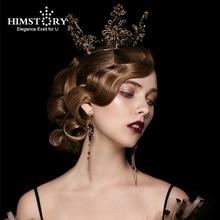 Himstory Baroque Tiara Crown Vintage Bridal Wedding Black Queen Handmade Round Retro  Hair Jewelry Headpiece Accessories