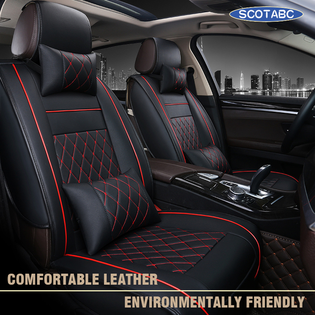 SCOTABC Car Seat Covers For Ford Mondeo Mk3 Mustang Focus 2 All Model Storage Tidying Coprisedili