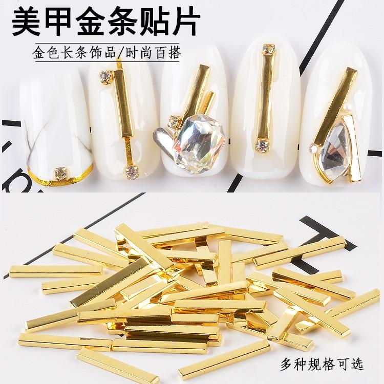 Qualifiziert 100 Pcs/lot Langen Streifen Metall Galvani Reales Gold Bars Design Nägel Kunst Dekorationen Zubehör Maniküre Uv Gel Studs 6-12mm 100% Hochwertige Materialien Strass & Dekorationen