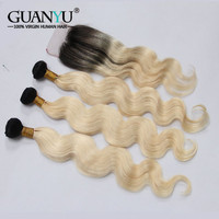 Guanyuhair Remy 1B/613 Ombre Brazilian Body Wave Hair Bundles With Closure 2 Tone Black Blonde Human Hair Weft with Dark Roots