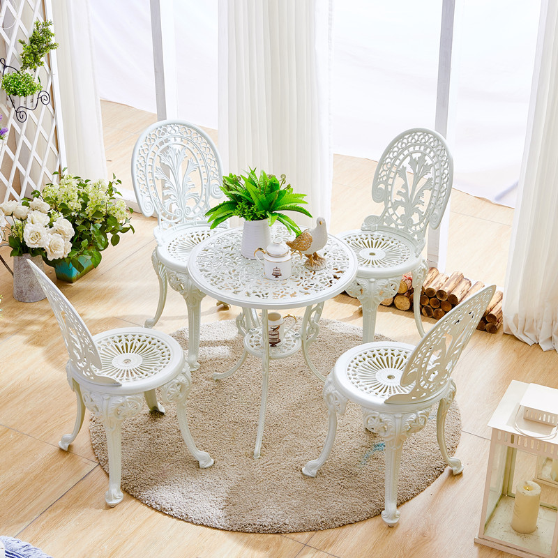 Cast aluminum outdoor balcony table and chairs combination Nordic style outdoor terrace garden table and chairs