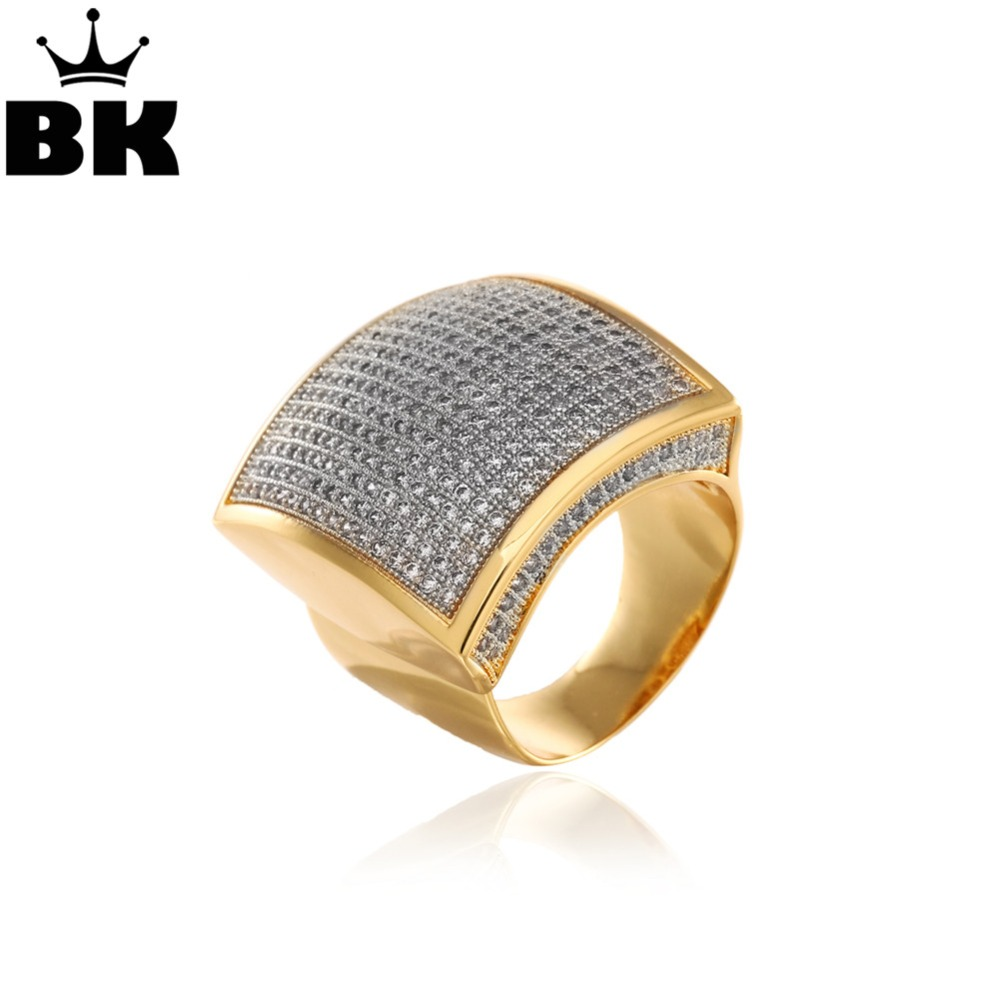 Stainless Steel Hiphop CZ Rings Free Size Men Full Cubic Zirconia Square Hip Hop Ring Gold Silver Double Color Plated Jewelries