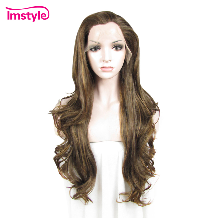 Imstyle Long Wavy Light Brown Wig Lace Front Wigs For