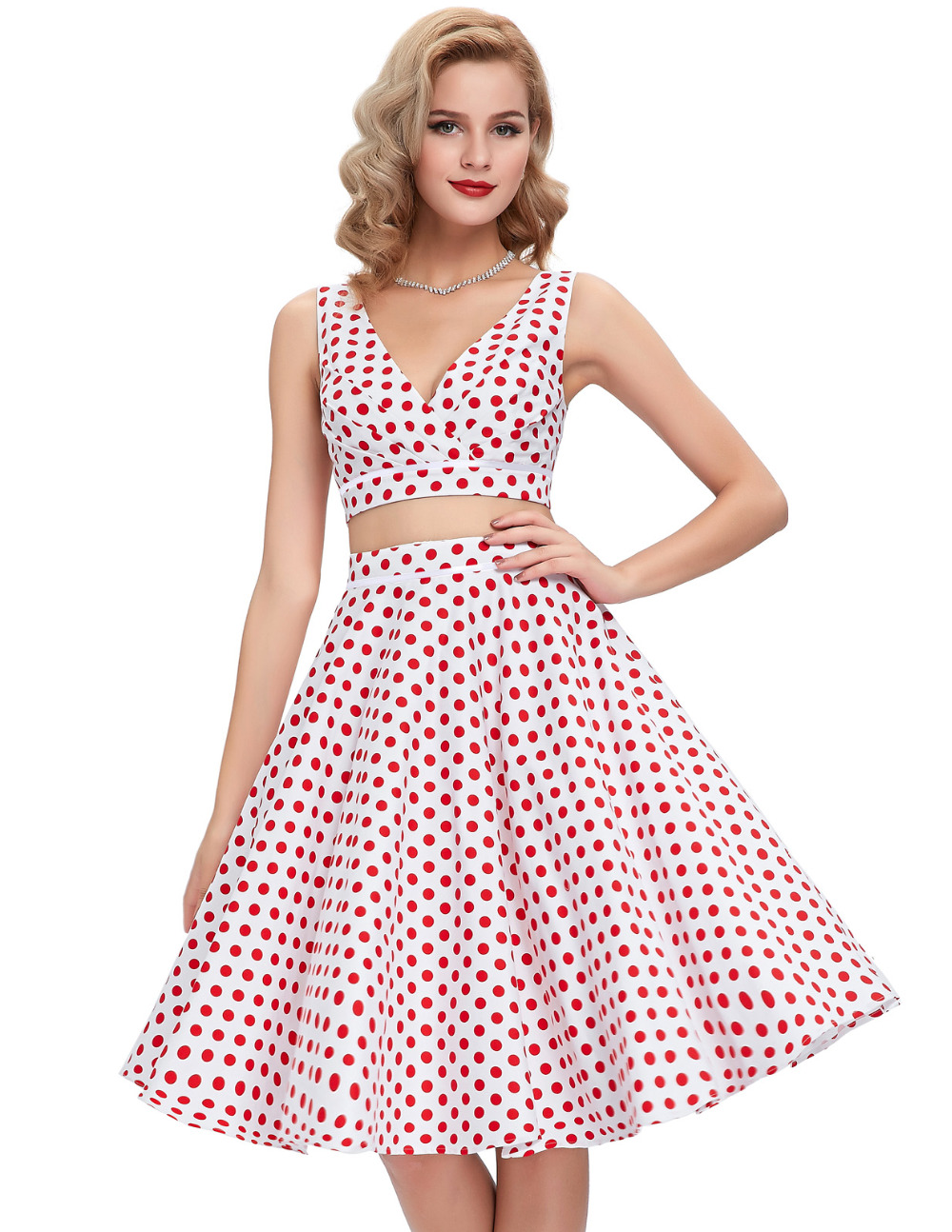 Buy Cheap 2016 Polka dots printed 60s 50s vintage dresses Robe Femme short swing 1950s Flared 2 Piece Set Women dress Two Piece outfits