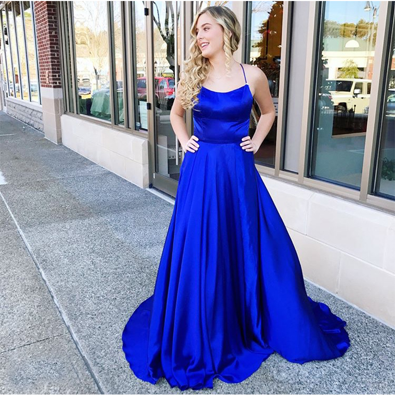 Long Royal Blue   Prom     Dress   Spaghetti Straps Vestido De Fiesta De Graduacion Crisscross Back Sweep Train Satin   Prom   Gowns 2019