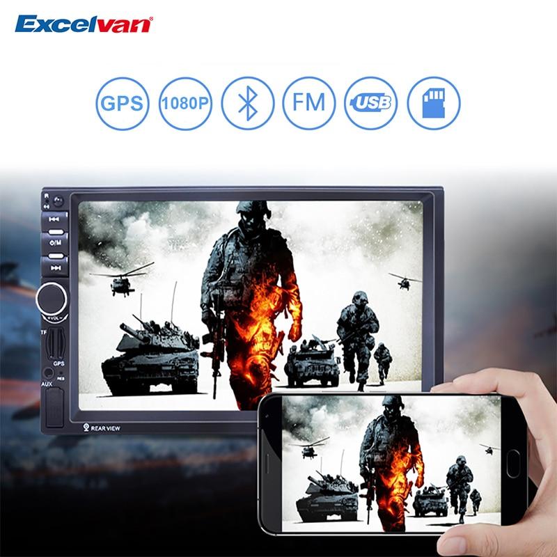 """imágenes para 7 """"HD 2 Din Navegación GPS Bluetooth 2.0 Coche de la Pantalla Táctil del Control Del Volante Reproductor MP5 FM/AUX-IN/USB/SD En El Tablero de Audio de Radio"""