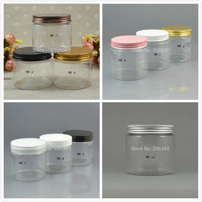 200G Transparent  Plastic PET Jar/pot/bottle/container  With Few Color Lid For Cream/mask/body Scrub/night Cream/wax/skin Care