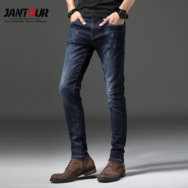 2018 Autumn winter Mens brand   jeans   Fashion Men Casual Slim fit Straight High Stretch Feet skinny   jeans   men blue male trousers