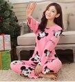Frete grátis novo 2017 Primavera Outono Adorável Character Pijamas das Mulheres Define Sleepwear menina mulheres de Roupas Em Casa pijamas