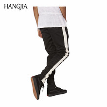 Vintage Single Stripe SwaetPants Male High Street Ankle Strap Zippers Jogger Europe America Stretch Four Season Pants cheap HANGJIA Sweatpants Full Length COTTON Broadcloth Fake Zippers skinny Flat Drawstring Midweight the four seasons Collage splicing