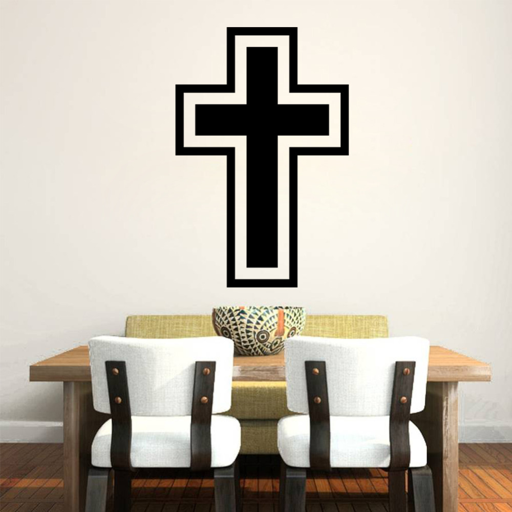 new cross christian removable wall stickers home decor wedding decoration 3d wallpaper wall art - Decorative Wall Crosses