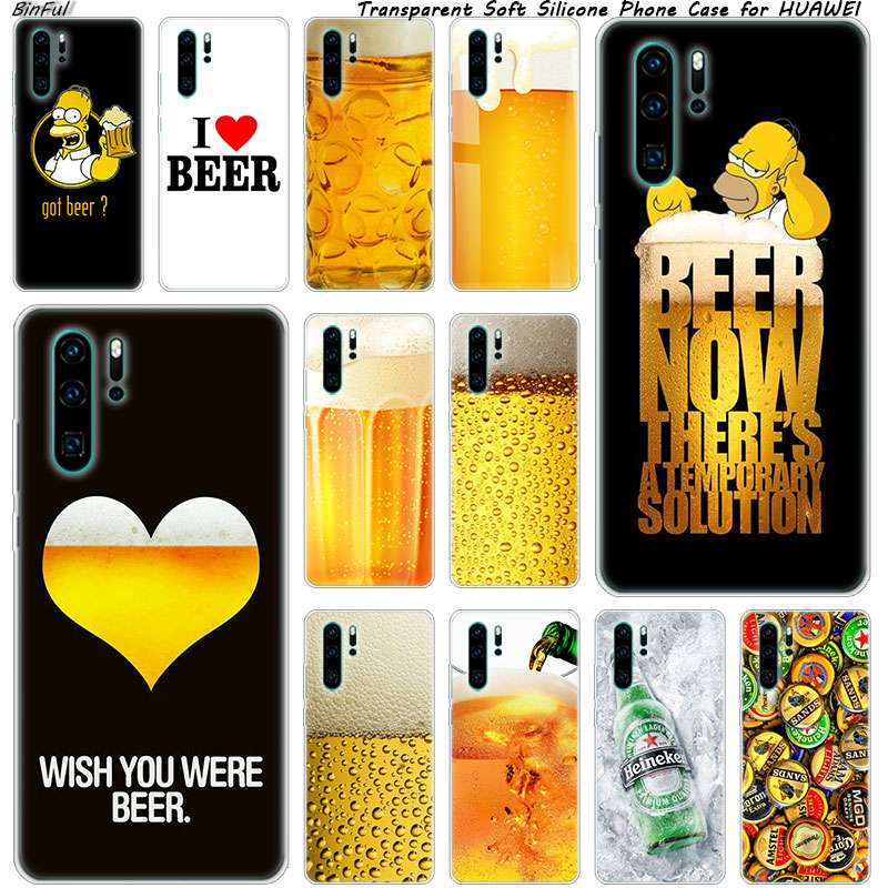 Fun Beer <font><b>Glass</b></font> Soft Silicone Phone <font><b>Case</b></font> for <font><b>Huawei</b></font> P30 P20 Pro <font><b>P10</b></font> P9 P8 Lite 2017 P Smart Z Plus 2019 NOVA 3 3i Fashion Cover image