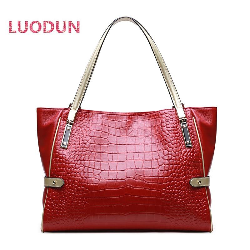 LUODUN Genuine Leather handbags female commuter bag the first layer of leather simple shoulder portable Messenger Messenger bag цена