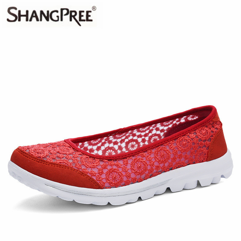 SHANGPREE New Breathable Women Summer Casual Shoes Platform Wedges Women Swing Shoes Fashion Comfortable Lace hollow lace shoes 2017 hot fashion loafers women casual shoes new breathable mesh flat platform women comfortable wedges heels shoes zapatos mujer