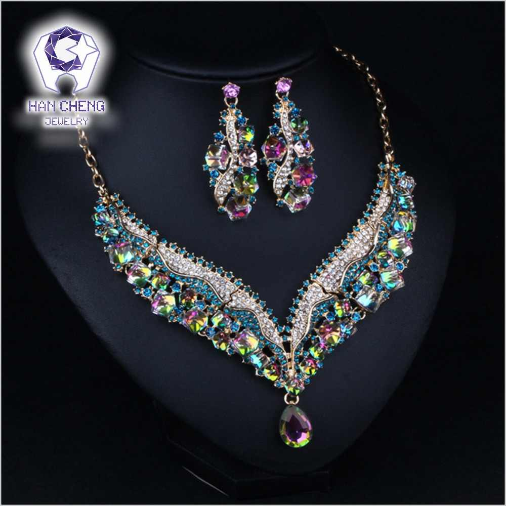 HanCheng Fashion Luxury Rhinestone Discolor Cubic Created Crystal Statement Maxi Choker Necklace Women Jewelry leagtha collier