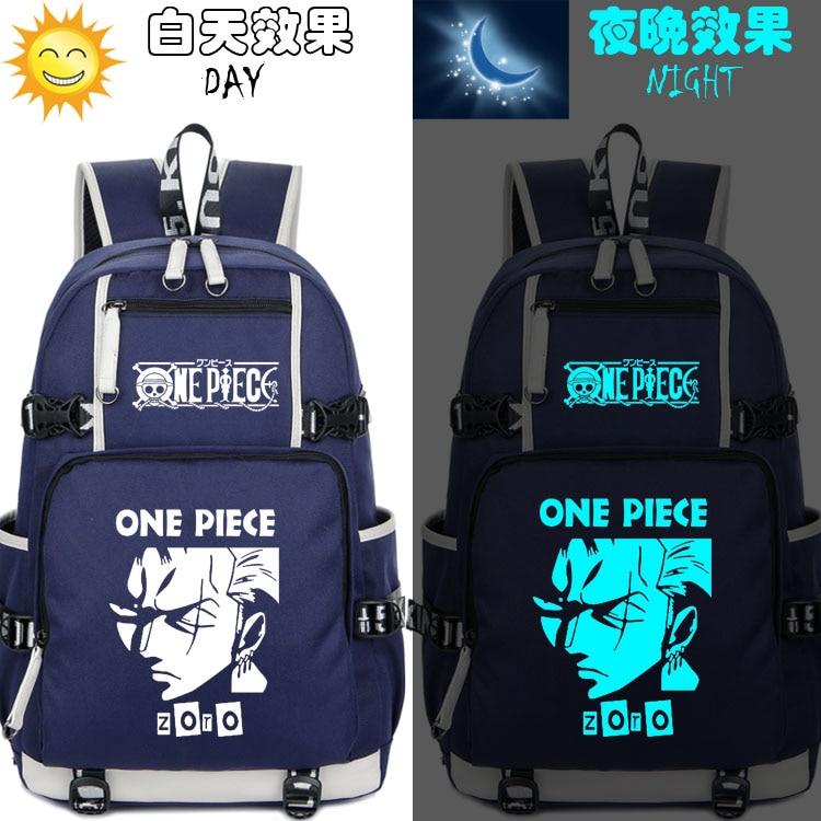 New Anime One Piece Roronoa Zoro Backpack Cartoon Animation Sauron Luobo Joba Schoolbag Male Female Teenage Girl Mochila