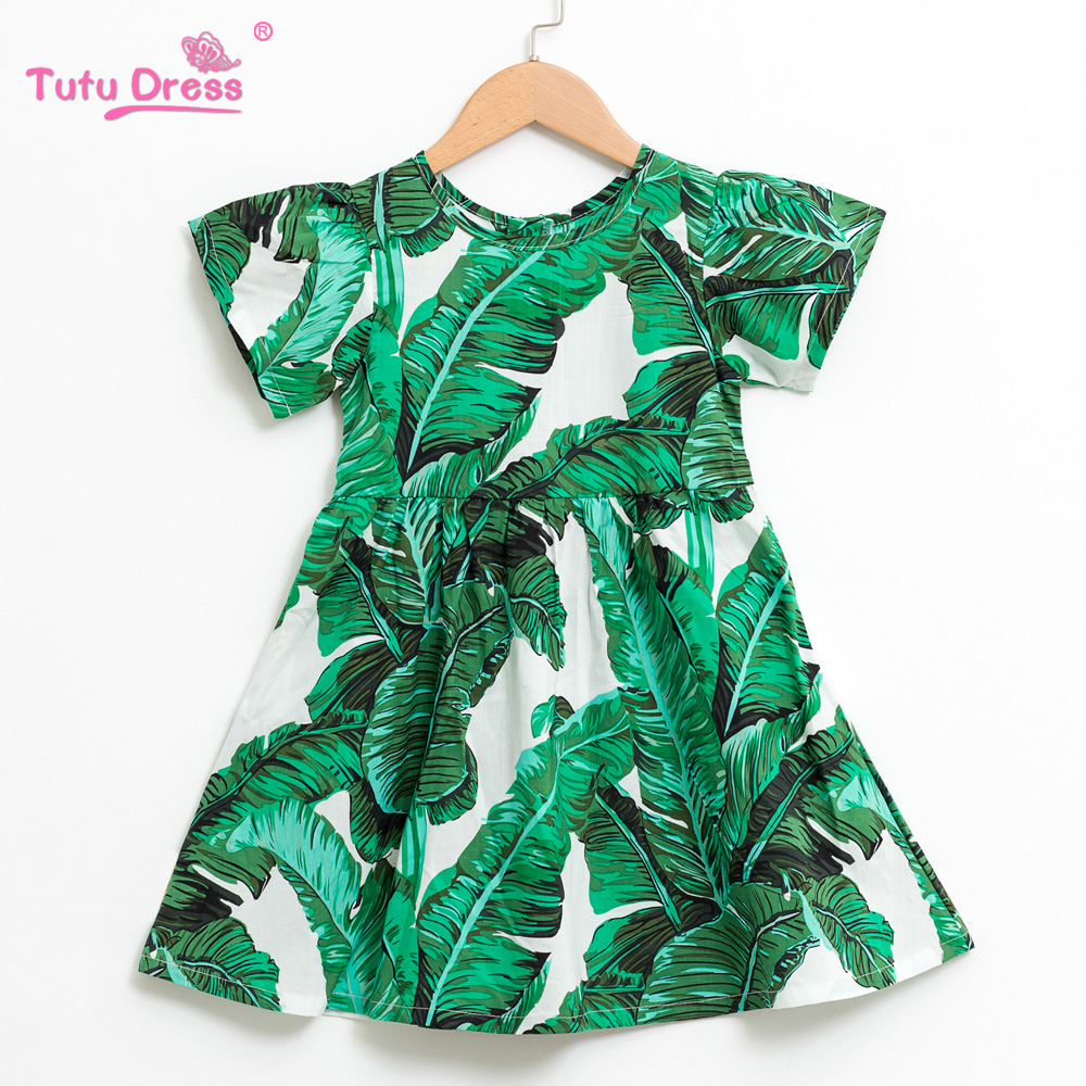 Baby Girls Clothes Brand Summer Beach Style Floral Print leaves Party Dresse For Girls Vintage Toddler Girl Clothing 1-10Yrs baby girls dress summer beach style floral print party cotton lace bow tutu dresses for girls cartoon toddler girl clothing