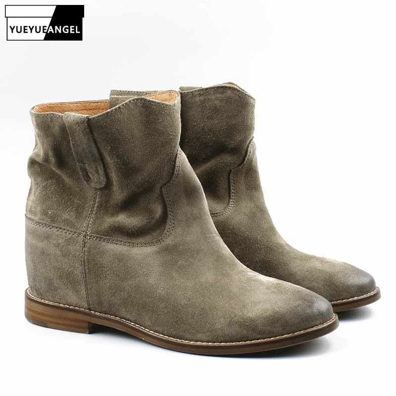 Suede Leather Womens Ankle Boot Pointed