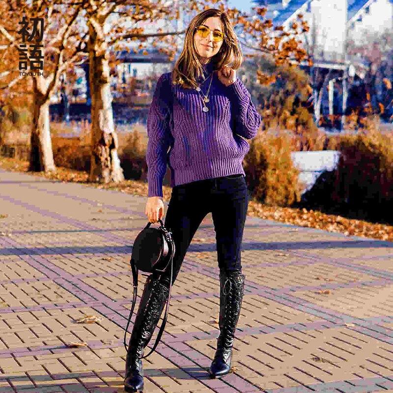 Toyouth Новые однотонные Для женщин джемпер Свитеры с высоким воротом Highneck безразмерный вязаный свитер полые Повседневное пуловеры с длинными...