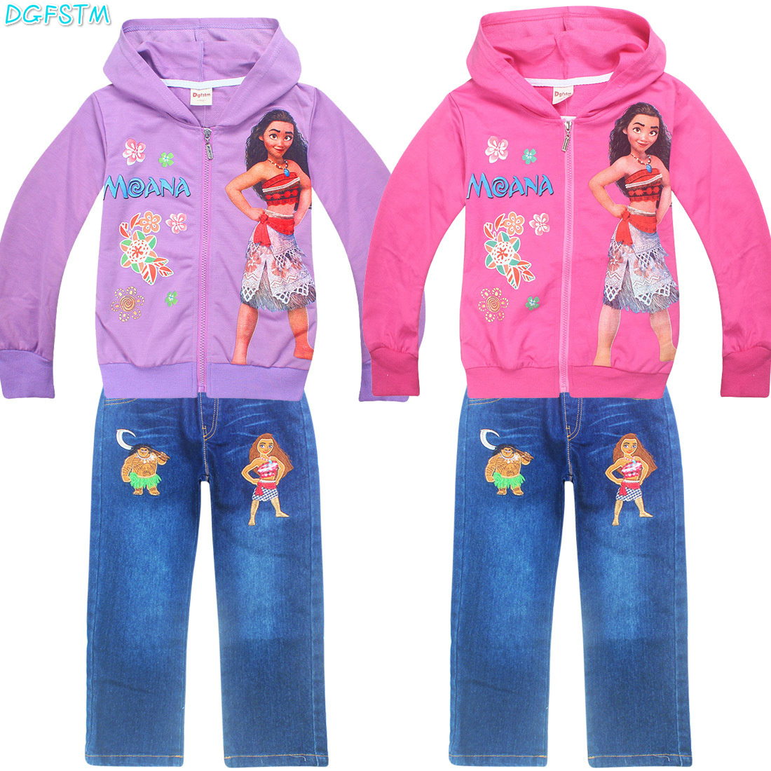 autumn new Moana fashion full children clothing sets girls kopcet cartoon long-sleeved sweater + jeans suit sets kids costume