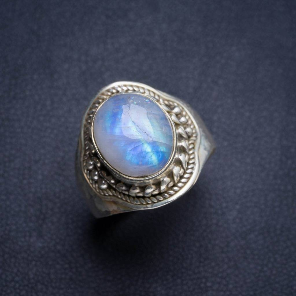 Natural Rainbow Moonstone Handmade Unique 925 Sterling Silver Ring 7.75 Y4670 natural rainbow moonstone handmade unique 925 sterling silver ring 6 75 y4681