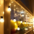 1.5mx0.25m/0.45m/0.65m 48SMD Wavy LED String Strip Christmas Holiday Curtain Fairy Light 10pcs 5cm Balls Wedding Decoration Lamp