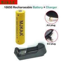 цена на 1Pcs 18650 9800mAh 3.7 V Battery Lithium Li-ion Rechargeable +1*18650 14500 16340 EU US plug single charger for flashlight
