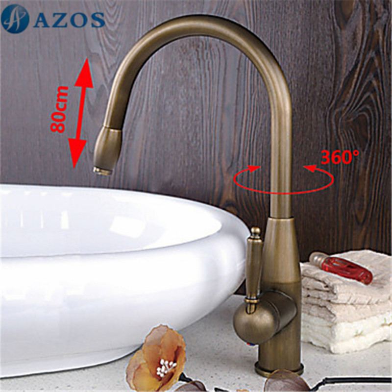 Kitchen Sink Faucets Swivel Hose Pull Out Down Spray Nickle Brass Antique Brass Deck Mounted Waterfall
