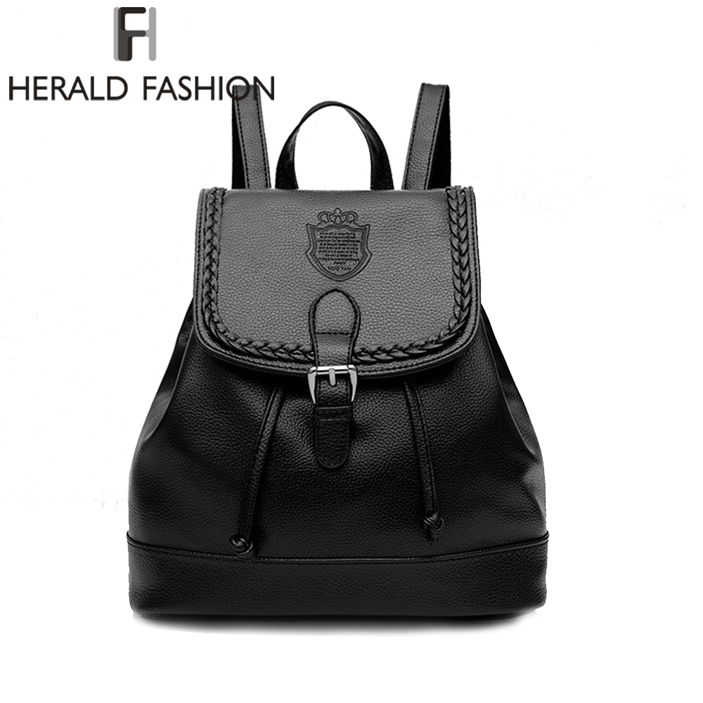 HERALD FASHION Litchi Pattern PU Leather Backpack Vintage Woman Backpack Casual School Bag for Teenage Girl Drawstring Backpack pu leather backpack litchi pattern student bag