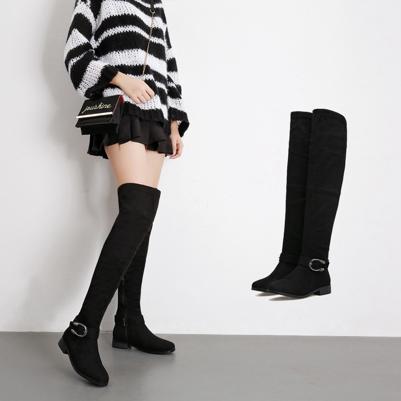 Fashion Women Shoes New Arrive Superstar Over Knee Boots Women Winter Boots Woman  Autumn Zip Thick Heel Thigh High Boot Female цены онлайн