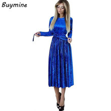 Фотография 2017 Autumn Velvet Dress Winter Women Fashion Belt Pleated Dresses Elegant Robes Vintage Bandage Party Dresses Sexy Vestidos Me