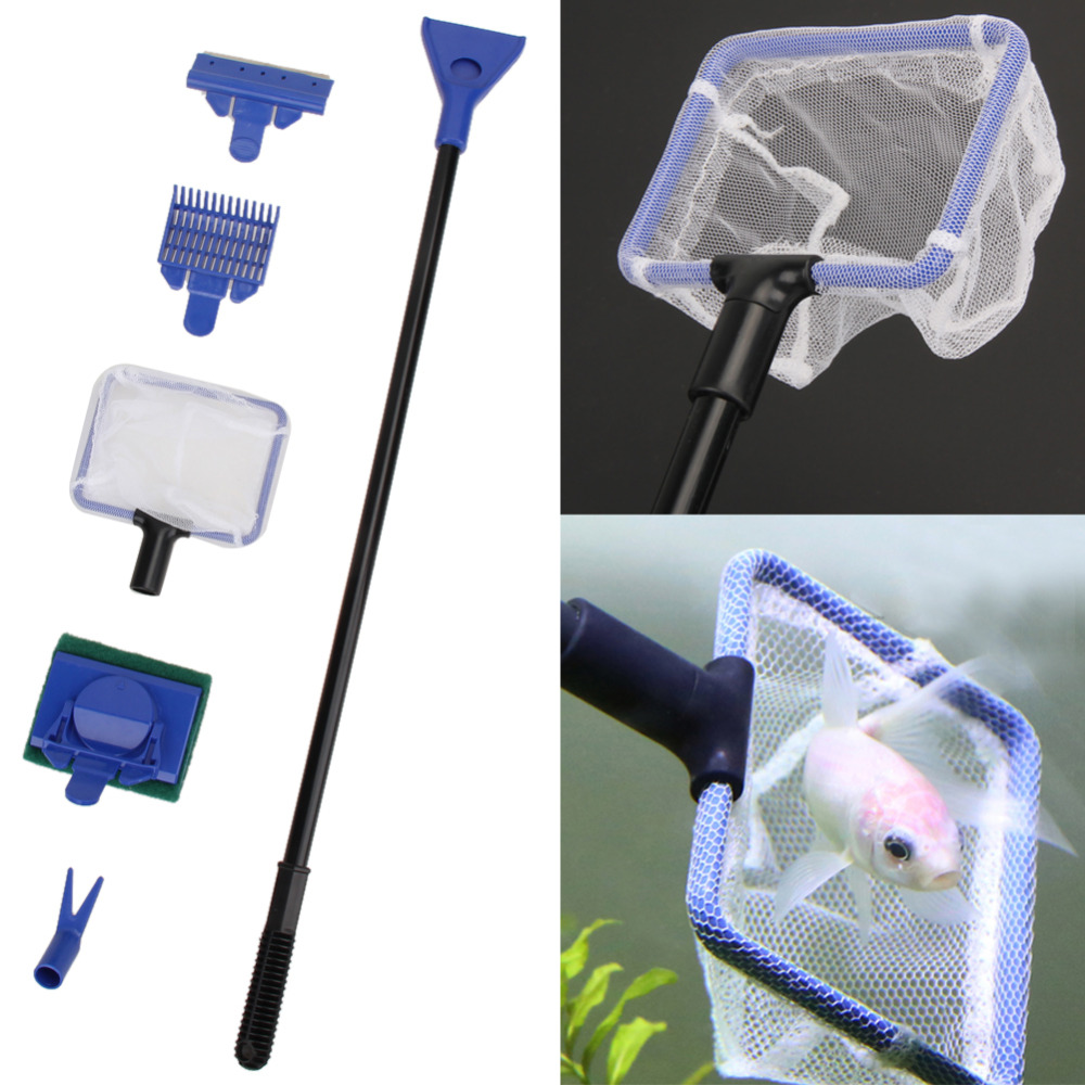5pcs set aquarium tank cleaning kit fish net gravel rake for Fish tank cleaning kit