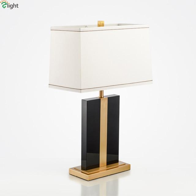 Modern Lustre Black Marble Led Table Lamp Luminaria De Mesa Copper
