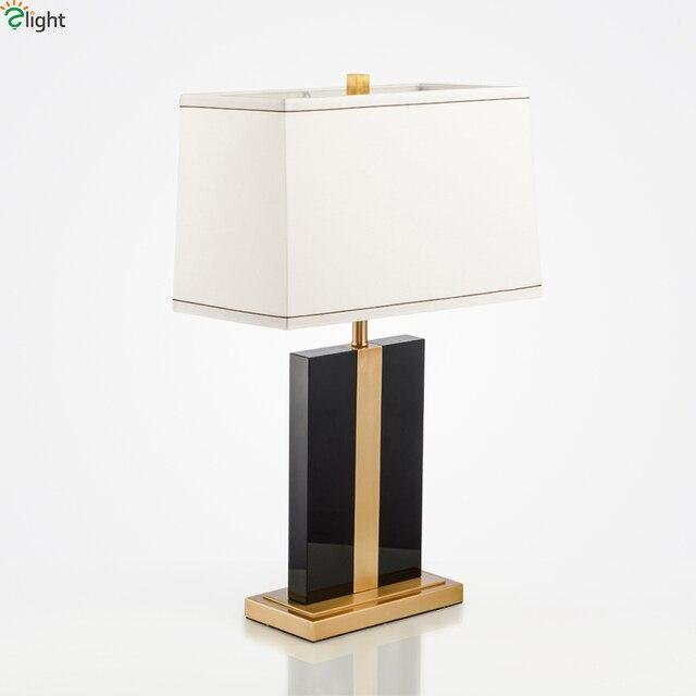 Moderne Lustre Noir Marbre Led Table Lampe Luminaria De Mesa Cuivre Metal Chambre Led Table Lumieres Appareils Table Lumineuse Tefellamp Dans Led