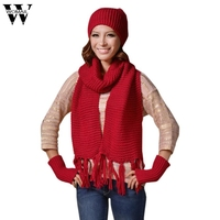 3Pcs Set Winter Warm Women Fashion Knitted Scarf Hat Gloves Sets Crochet Cap Beanie Ski Hat
