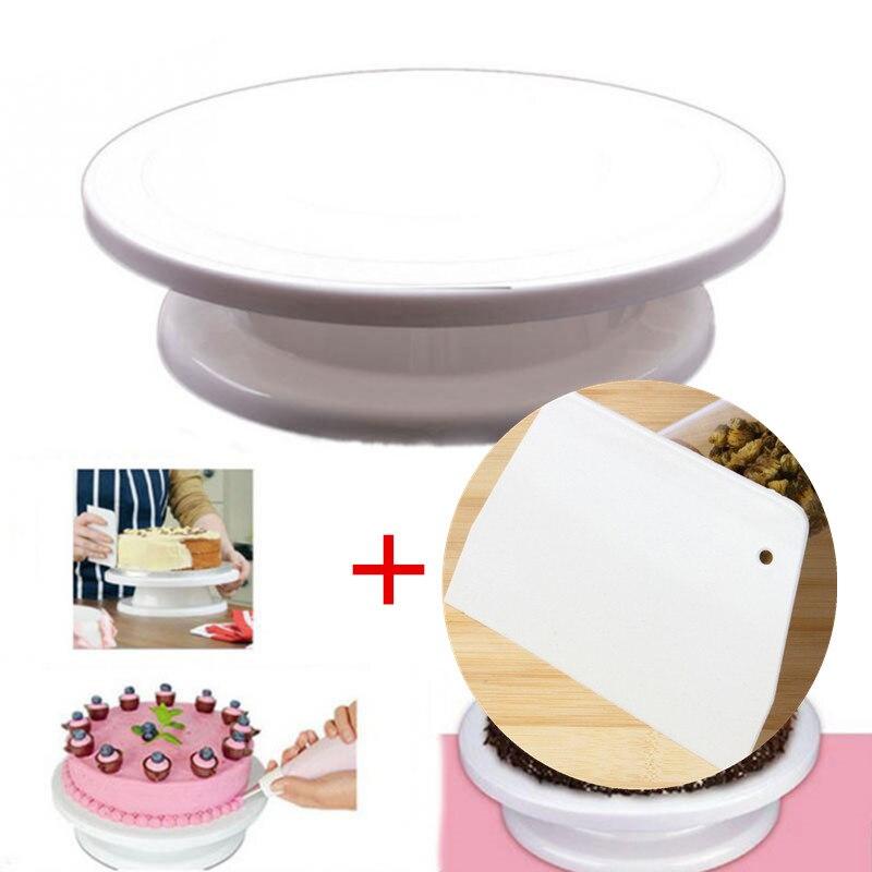 Jinjian Keuken Taart Plaat Revolving Decoratie Stand Platform Draaitafel Ronde Roterende Cake Swivel Kerst Bakken Tool Modieuze Patronen